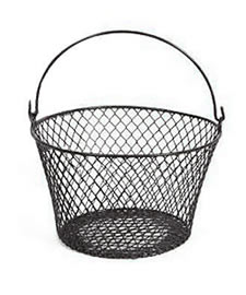 A black PVC coated wire mesh basket with an adjustable handle