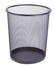 A black wire mesh waste basket with flat bottom