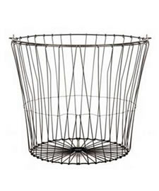 A galvanized round wire basket with a horizontal reinforcing wire