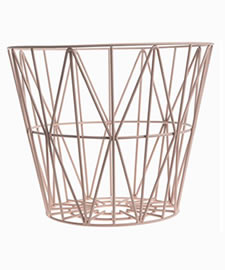 A khaki plastic coated round basket in stylish design