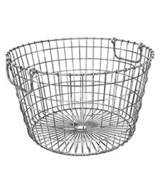 A rustic  round wire basket with adjustable handles
