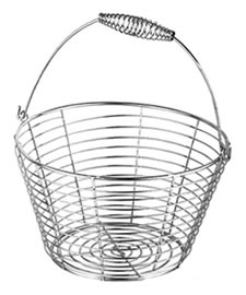 A shiny galvanized round basket with a folding handle
