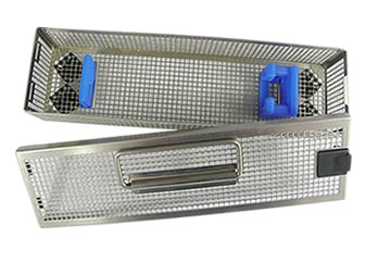 A stainless steel perforated endoscope basket with square holes