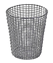 A stainless steel round basket composed of woven wire mesh
