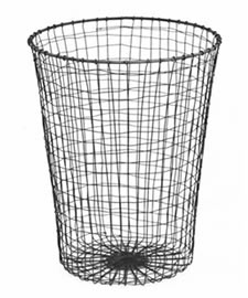 A galvanized wire paper waste basket in cylindrical shape.