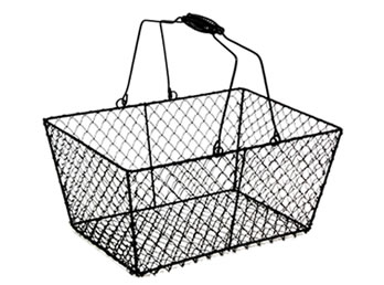 A Handmade Black Coated Wire Storage Basket Wtb 10 With Two Swing Handles For Easy