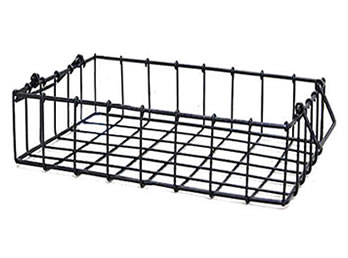 A Black Rectangular Wire Storage Basket WTB 11 With Two Folding Handles
