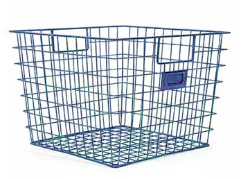 Genial A Blue Vinyl Coated Wire Storage Basket WTB 4 With ID Label Holder And Build
