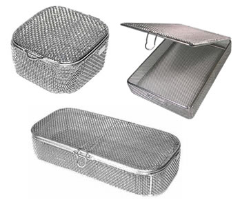 Three woven fine mesh baskets with shiny surface